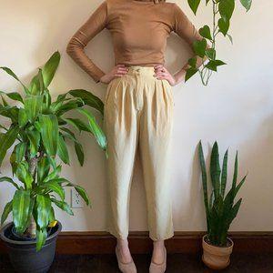 Vintage Pleated Trousers Cream Silk